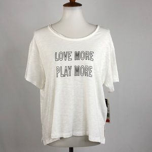 Nanette Lepore Play White Short Sleeve Graphic Top